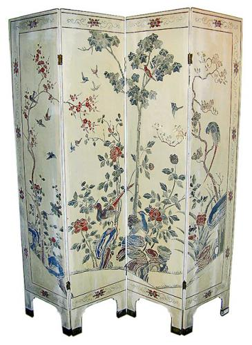 A Pair of 19th Century Four-Panel Oriental Screens No. 504