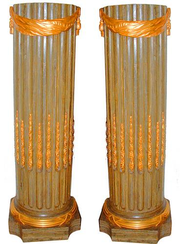 A Striking Pair of Polychrome and Parcel-Gilt Neoclassical Pedestals No. 2417
