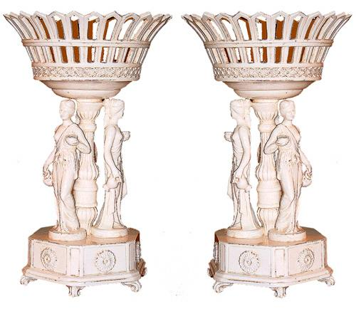 A Pair of Glazed 19th Century Italian Ceramic Centerpieces No. 2416