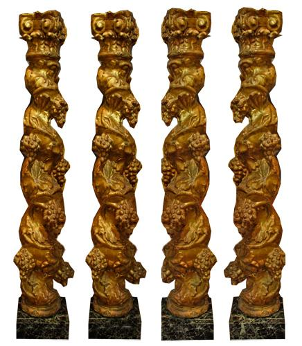 A Set of Four Late 17th Century Carved Giltwood Architectural Columns No. 2311