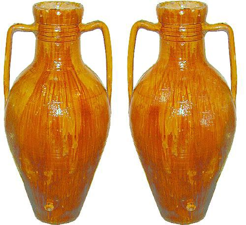 A Pair of Unusually Large Italian Olio Earthenware Amphorae No. 2290