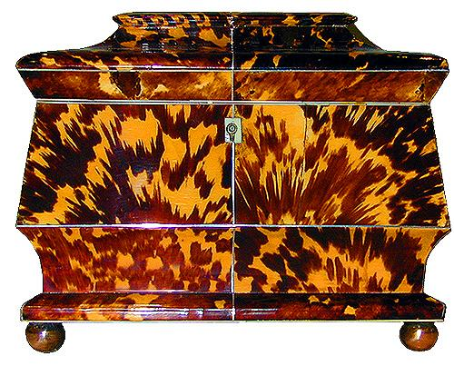 A 19th Century English Regency Blonde Tortoiseshell Tea Caddy 2216