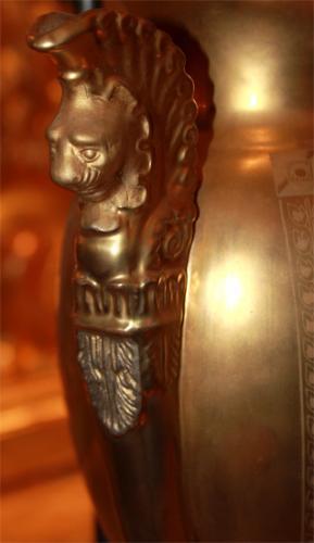 An Elegant Pair of Gilded Porcelain de Paris Vases, Now Electrified as Lamps No. 2185