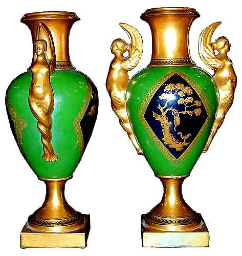 A Pair of 19th Century Neoclassic Porcelain De Paris Verde Urns No. 1963