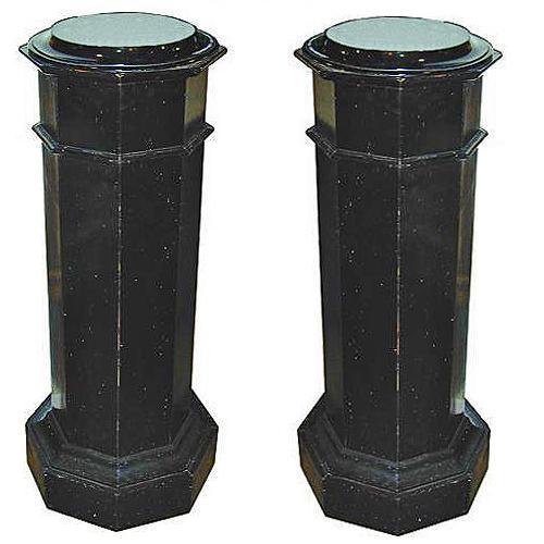 A Pair of 19th Century Italian Ebonized Pedestals No. 1754