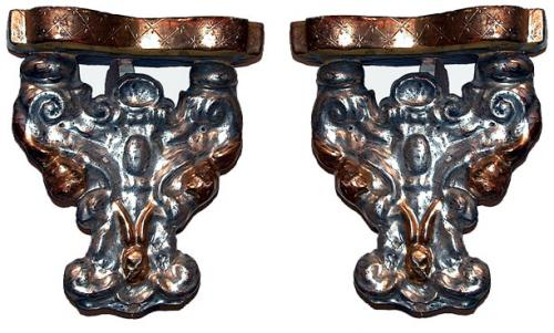 A Pair of 19th Century Italian Silver-Gilt and Giltwood Carved Sconces No. 463