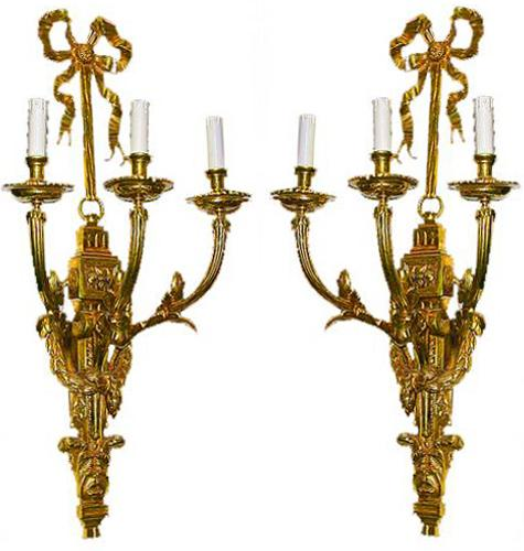 A Pair of 19th Century French Gilt-bronze Louis XVI Style Three-Arm Wall Appliqués No. 193