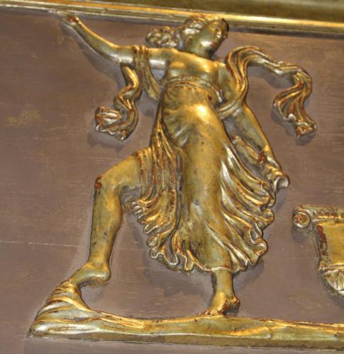 An 18th Century Italian Polychrome & Parcel Silver-Gilt Trumeau Mirror No. 797