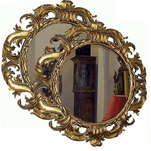 A Pair of 18th Century Italian Finely Carved Round Giltwood Mirrors No. 418