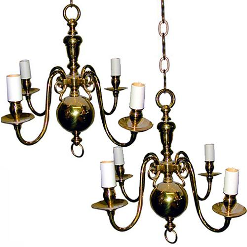 A Pair of English Four-Light Brass Chandeliers No. 1247