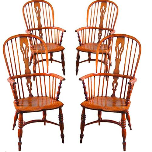 A Harlequin Set of Four Fine 18th Century English Elmwood Windsor Chairs No. 2320