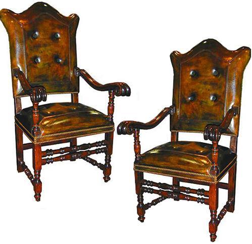 An Impressive Pair of 17th Century Italian Baroque Walnut Armchairs No. 2062