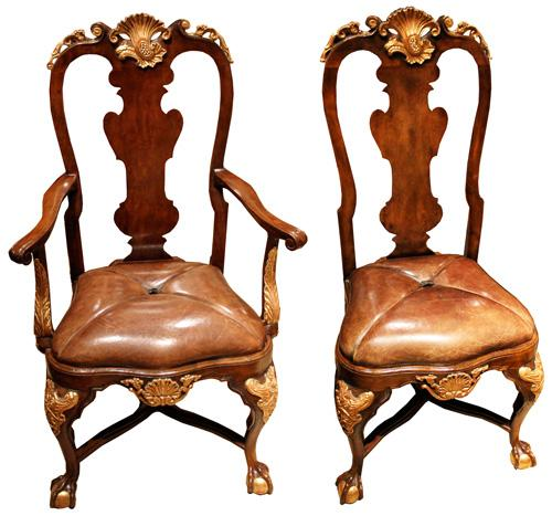 A Set of Four Antique Walnut Portuguese Dining Chairs with Gilt Accents No. 1828