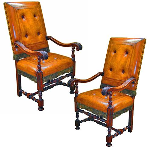 A Very Fine Pair Of 17th Century Tuscan Walnut Armchairs No. 3016