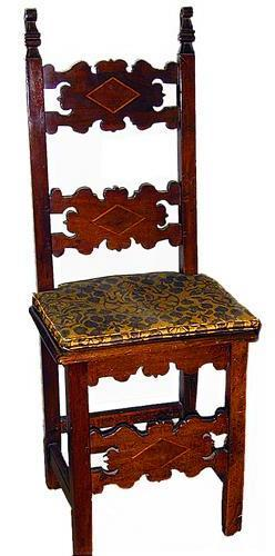 A Set of Fourteen 19th Century Brescia Italian Carved and Inlaid Walnut Meuble de Style Chairs No. 1402