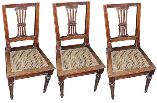 A Set of Three 19th Century Italian Louis XVI Walnut Side Chairs No. 612
