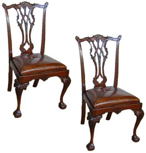 A Fine Pair of 19th Century English Chippendale Chairs No. 565