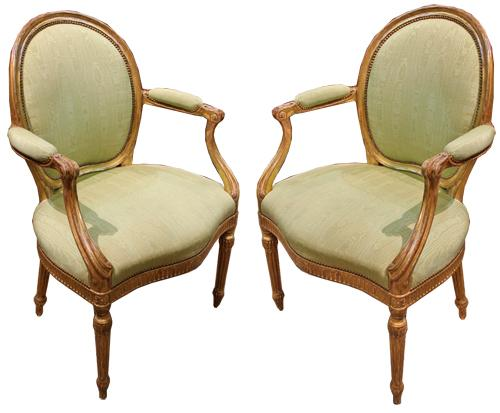 A Pair of 18th Century French Louis XVI Giltwood Oval Back Armchairs No. 135