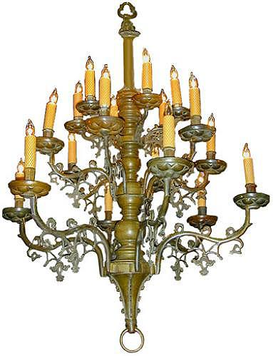A 17th Century Benelux Patinated Brass Chandelier 45
