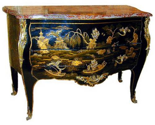 An Exceptional M. Criaerd 18th Century French Louis XV Black and Gold Lacquer Chinoiserie Commode No. 1002