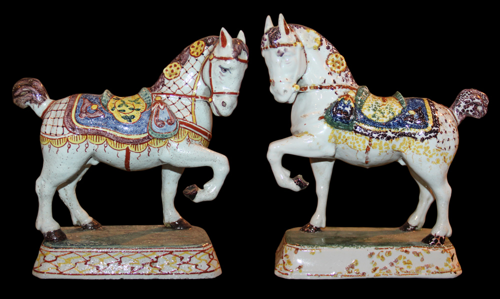 A 19th Century English Pair of Delft Porcelain Parade Horses No. 1097