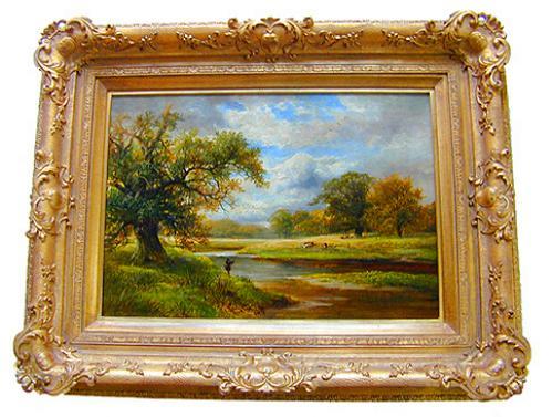 "Benjamin William Leader's 19th Century (1831-1923) Bucolic Landscape ""Fishing by the Stream"" No. 2124"