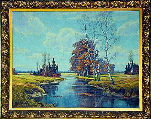 A 19th Century Oil on Canvas, River Landscape No. 564