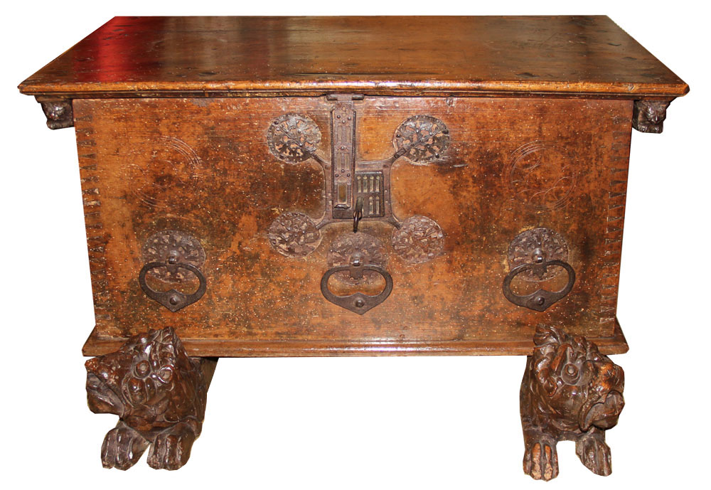 An Exquisite 16th Century Italian Walnut and Marquetry Cassone No. 1243