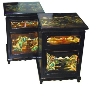 A Pair of 19th Century Chinese Chinoiserie Black Lacquer Night Tables No. 1288