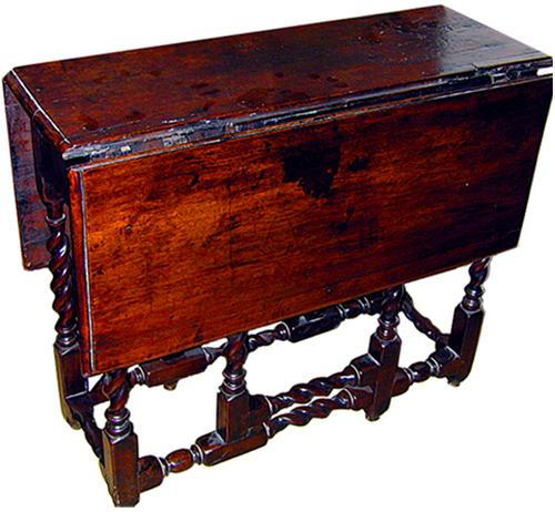 A Fine 18th Century Jacobean Walnut Drop Leaf Side Table No. 609