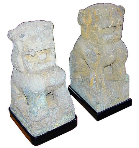 A Pair of 19th Century Asian Temple Fu Dogs No. 3012