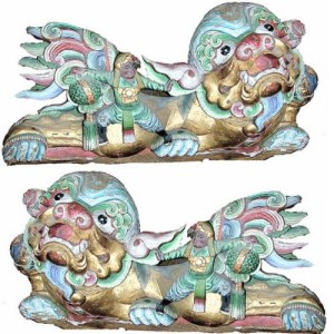 A Pair of 19th Century Chinese Carved and Hand-Painted Fu Dogs No. 474