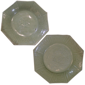 A Pair of 18th Century Chinese Octagonal Carved Celadon-Glazed Dishes No. 1429