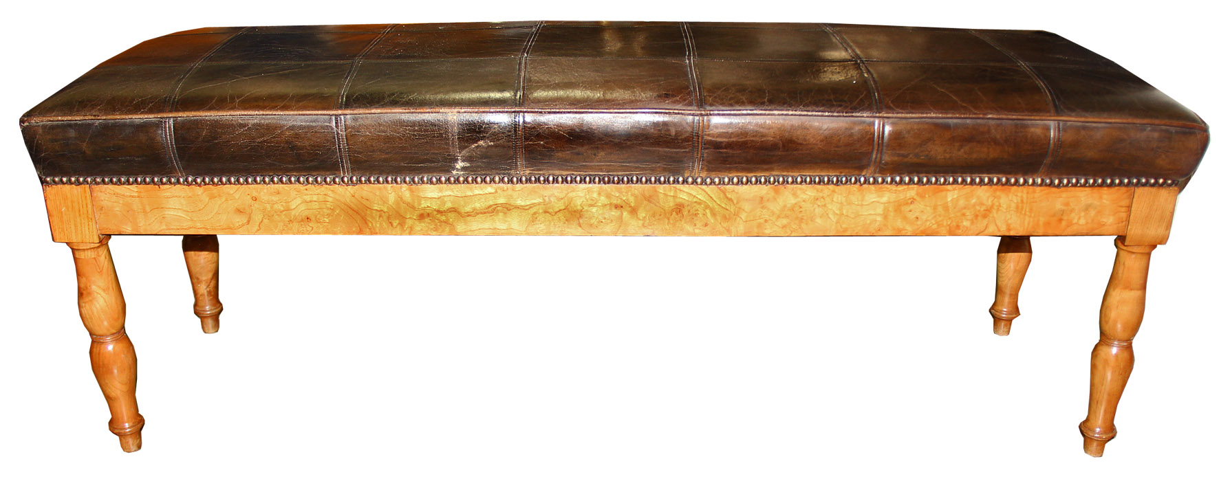 A 19th Century French Charles X Burl-Elm Bench No. 1449