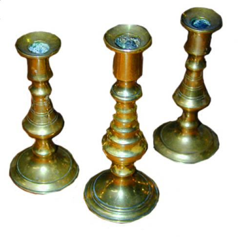 A Set of Three Miniature Brass Candlesticks No. 1752