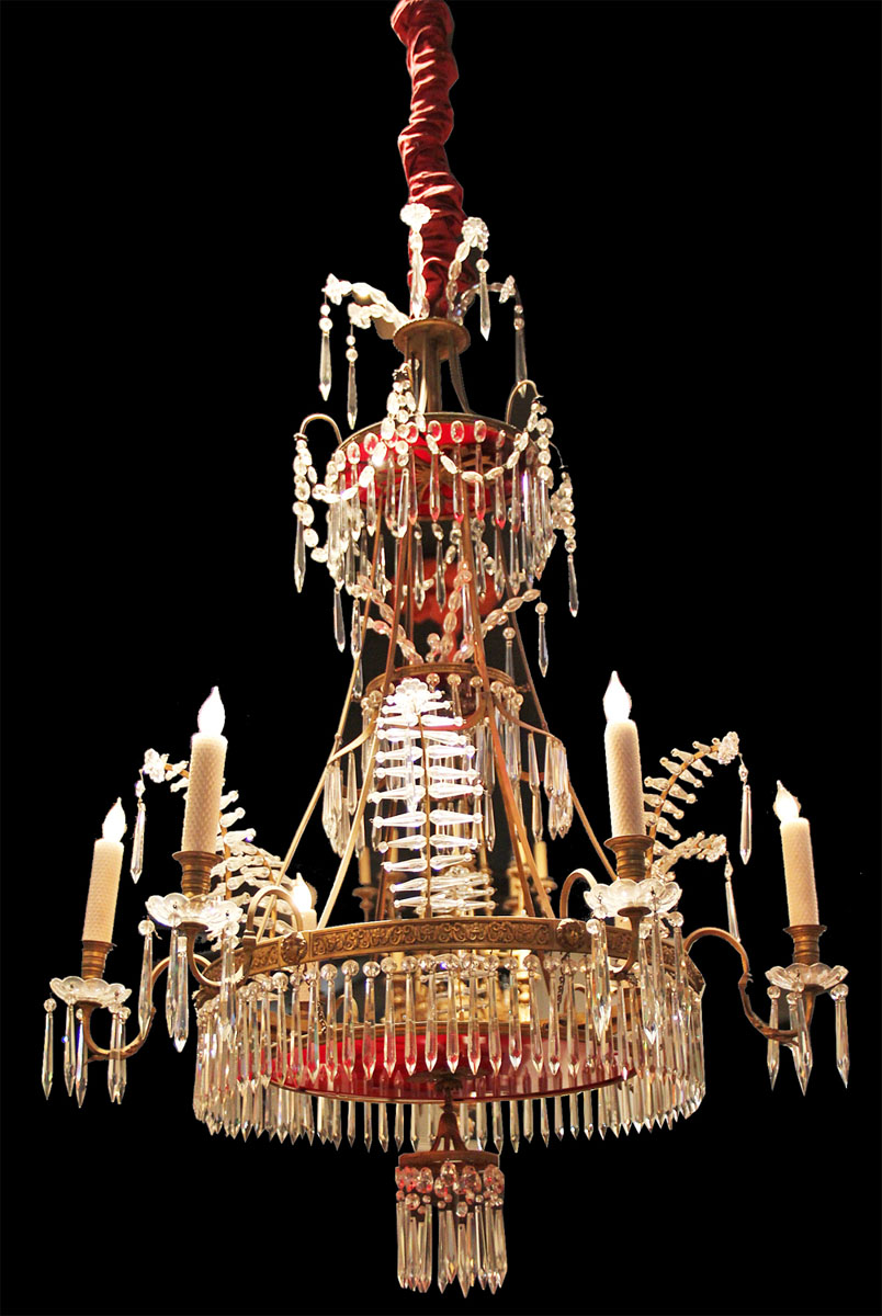 A Russian 19th Century Gilt-Bronze, Clear and Red Glass Six-Light Chandelier in the Neoclassical Taste 1547