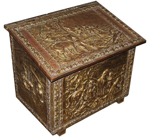 A Fine 19th Century English Brass Repoussé Coal Box No. 1290