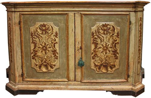 A Boldly Scaled 17th Century Italian Verdaccio Credenza No. 2421