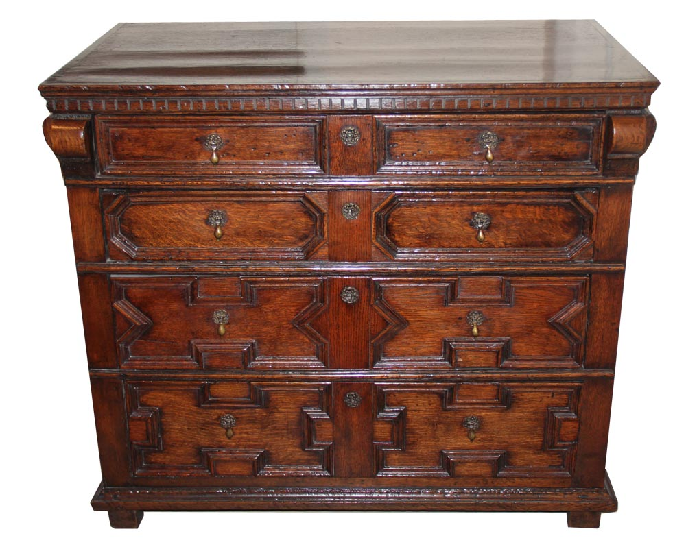 A 17th Century Jacobean English Oak Chest of Drawers No. 1669