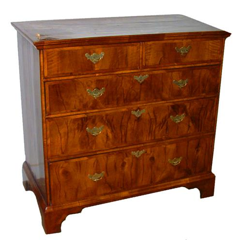 An Understated 18th Century Tiger Stripe Walnut Queen Anne Chest of Drawers No. 2512