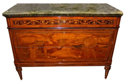 An Exquisite 18th Century Genovese Marquetry Commode No. 1630
