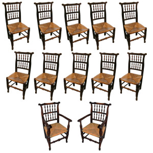 An 18th Century English Elmwood Set of Ten Side and Two Arm Spindle-Back Chairs No. 174