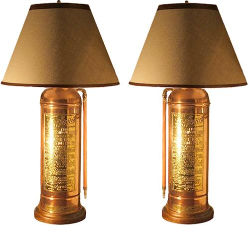 A Harlequin Pair of Early 20th Century American Brass and Copper Fire Extinguishers No. 2802