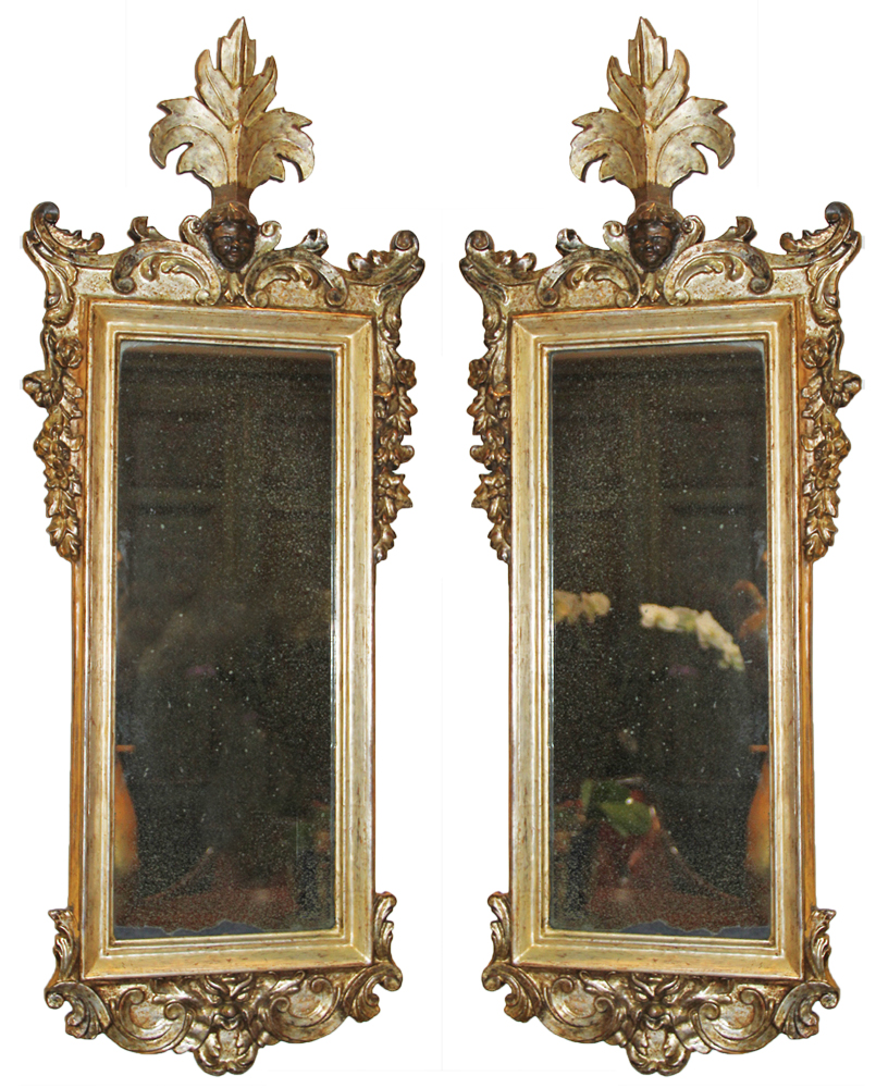 An Exquisite Pair of Italian Carved Mecca Giltwood Mirrors No. 1795
