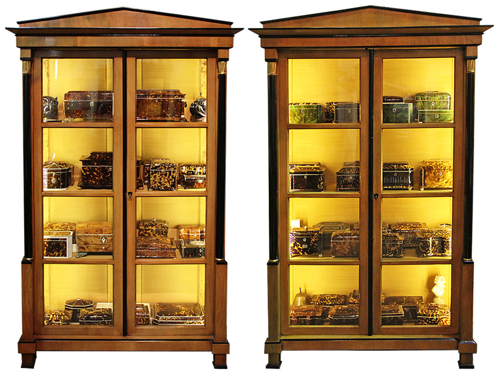 A Fine Pair of 19th Century Biedermeier Fruitwood Vitrines No. 1814