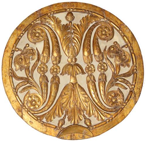 A Monumental 18th Century Italian Carved Giltwood Architectural Medallion No. 2843