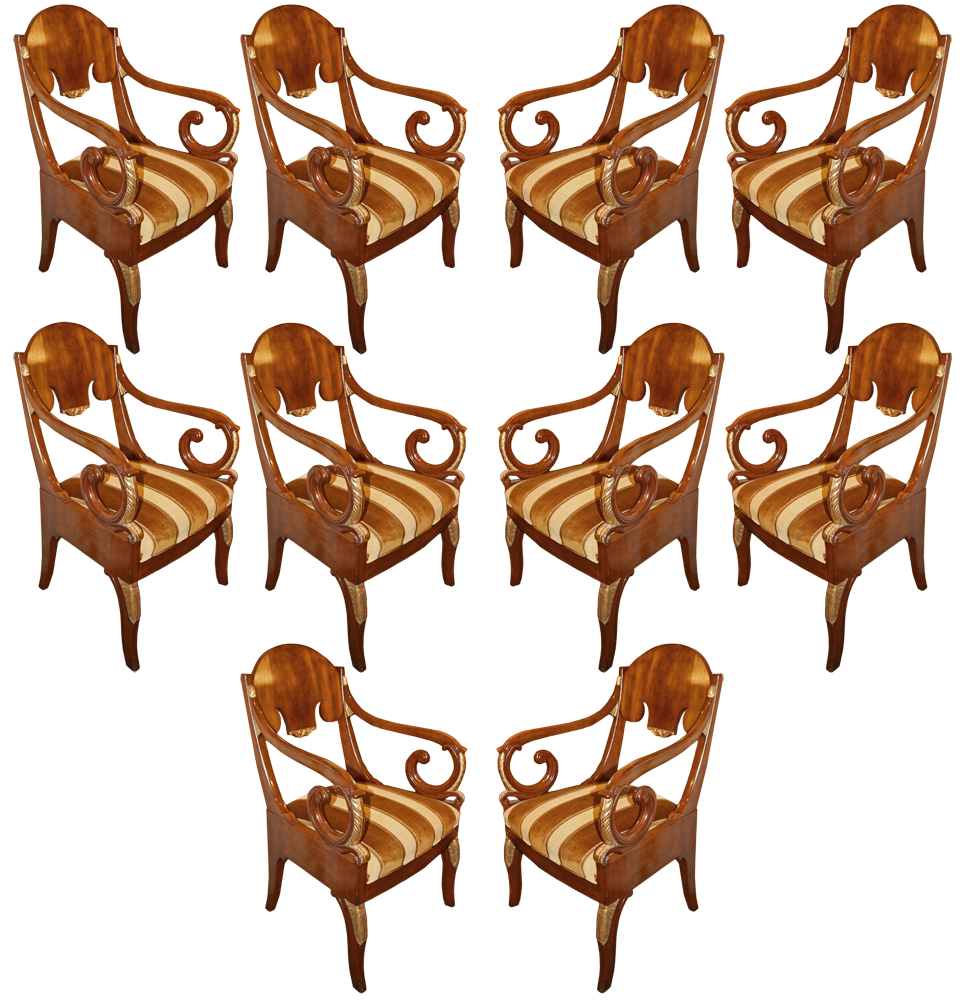A Set of Ten 19th Century Russian Empire Mahogany and Parcel-Gilt Armchairs No. 1830
