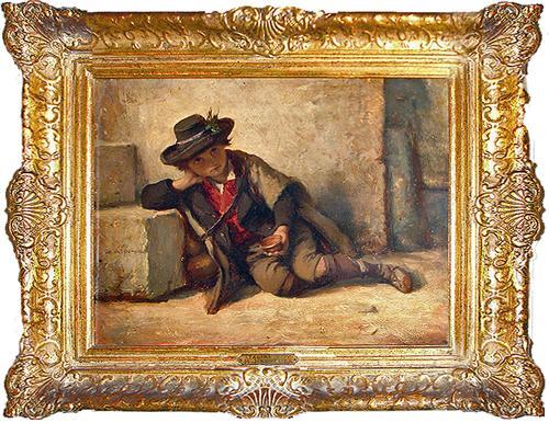 The 19th Century Oil on Panel, The Italian Boy by Hubert von Herkomer No. 2885
