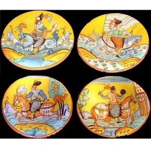 A Set of Four 19th Century Monte Lupo Faenza Dinnerware Plates No. 2839