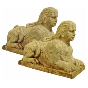 A Pair of Imposing Early French Empire Recumbent Sphinxes No. 2891